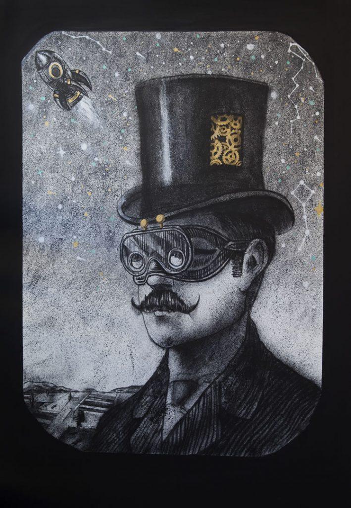 Λεωνίδας Γιαννακόπουλος – space hunter, 2016, mixed media on canvas, 100x150cm
